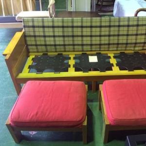 ソファ修理事例座面張り替え・ウレタン入れ替え・背クッションの高さアップ
